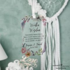 Zawieszki ślubne ozdobne, satynowe pleksi Boho kwiaty