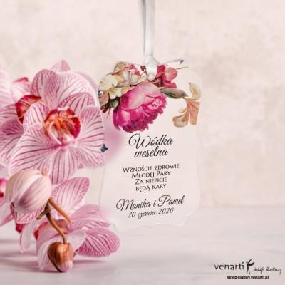 Zawieszki ślubne ozdobne, satynowe pleksi Eko kwiaty