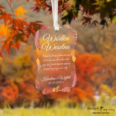 Zawieszki ślubne ozdobne, satynowe pleksi Jesień