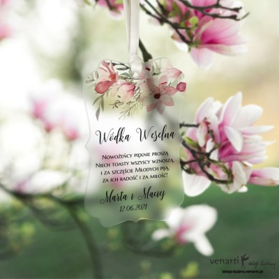 Zawieszki ślubne ozdobne, satynowe pleksi Magnolie