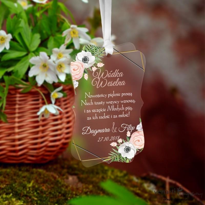 Zawieszki ślubne ozdobne, satynowe pleksi Białe anemone