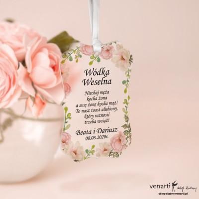 Zawieszki ślubne ozdobne, satynowe pleksi Białe róże