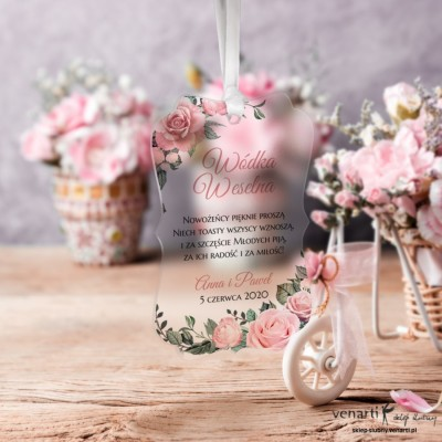 Zawieszki ślubne ozdobne, satynowe pleksi Pudrowe róże