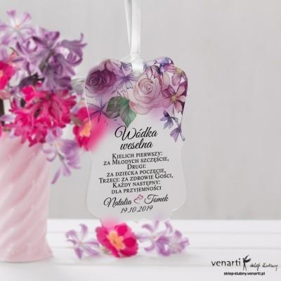 Zawieszki ślubne ozdobne, satynowe pleksi Rustykalne kwiaty
