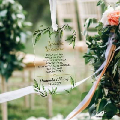Zawieszki ślubne ozdobne, satynowe pleksi Eukaliptus