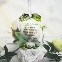 Zawieszki ślubne ozdobne, satynowe pleksi Białe kwiaty