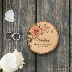 Ślubny magnes na lodówkę Plaster brzozy Pudrowe róże