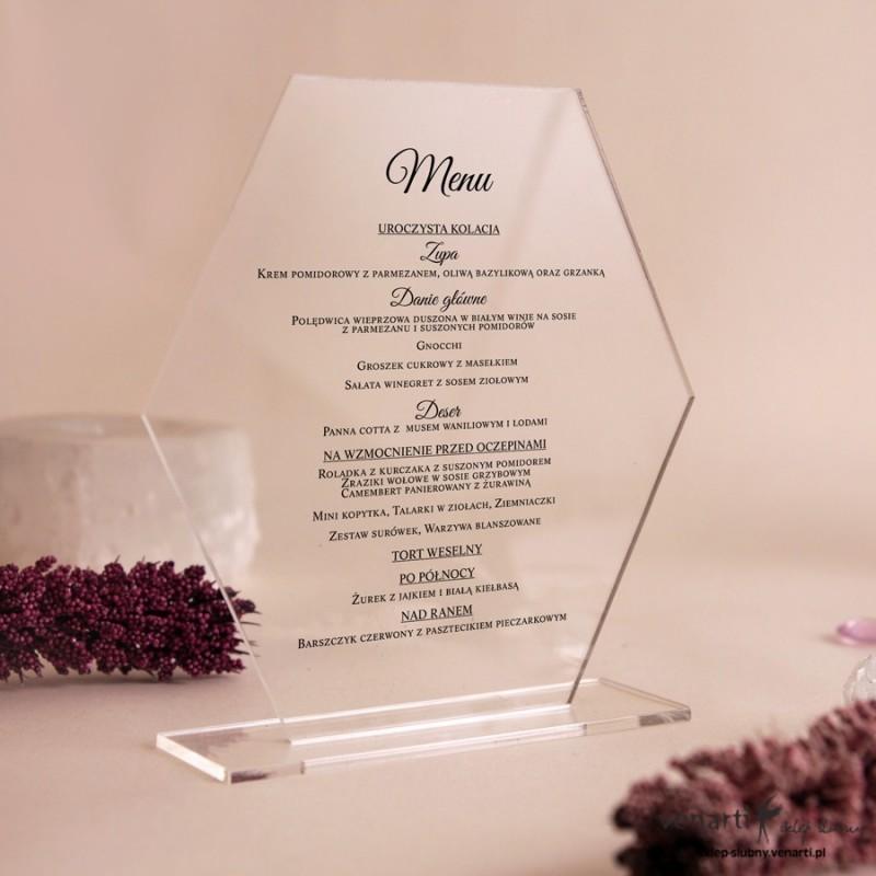 Ślubne menu z pleksi