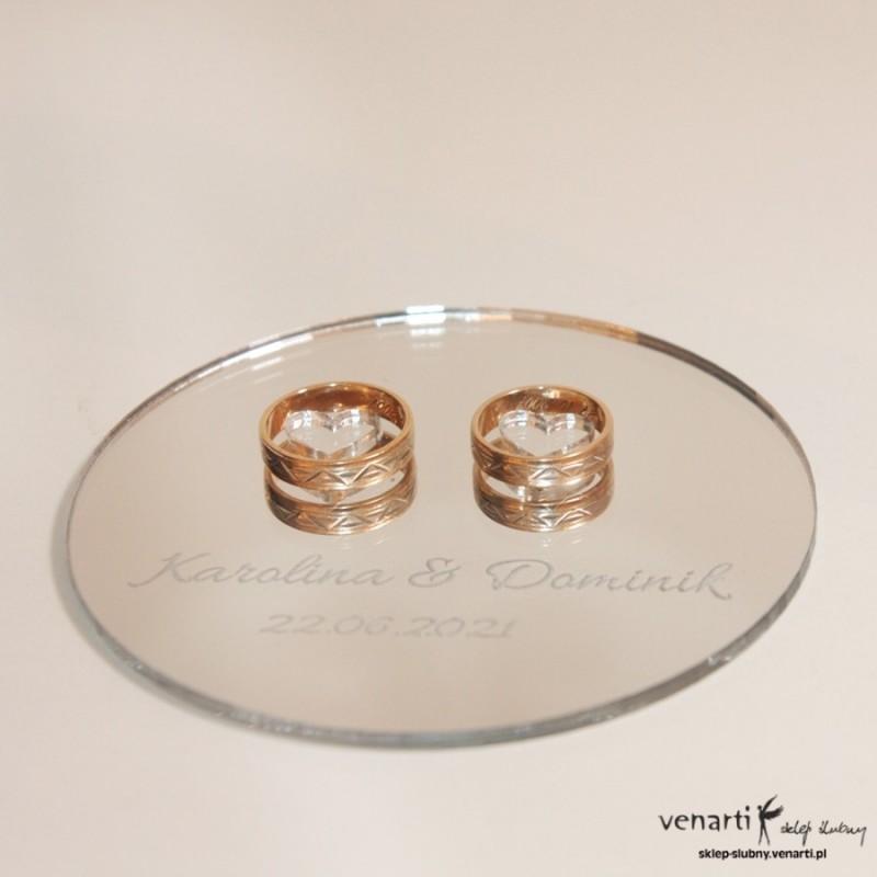 Ślubny talerzyk na obrączki lustro