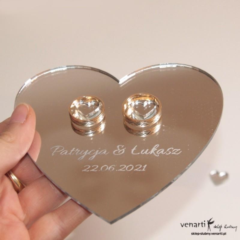 Ślubny talerzyk na obrączki w kształcie serca lustro