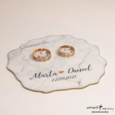 Ślubny talerzyk na obrączki Marmur