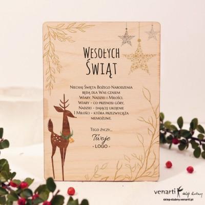 Renifer Drewniane kartki świąteczne