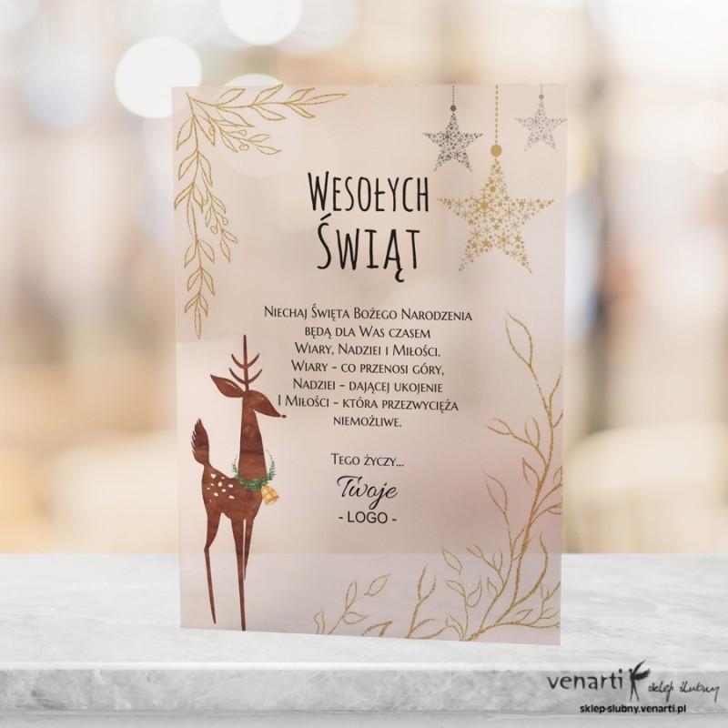 Renifer Elastyczne, satynowe kartki świąteczne