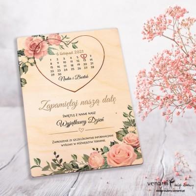 Pudrowe róże Drewniane kartki z magnesem Save The Date