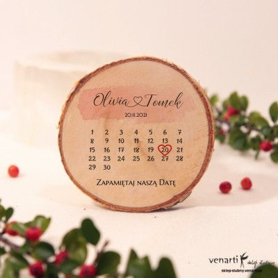 Magnes na lodówkę Plaster brzozy z kalendarzem Save The Date