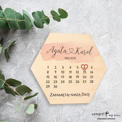Drewniany magnes na lodówkę z kalendarzem Save The Date