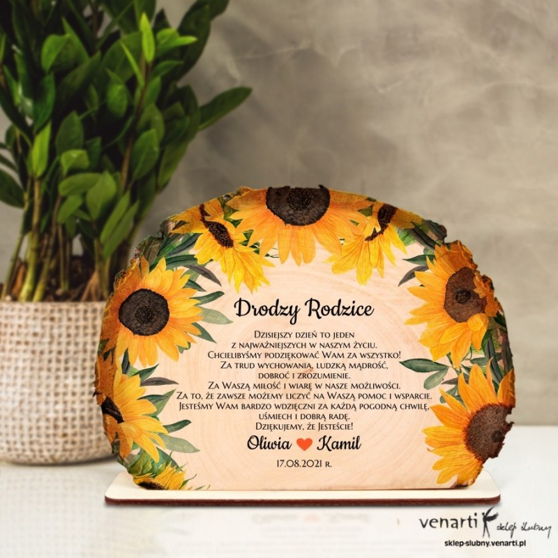 Słoneczniki Podziękowania dla Rodziców Ślubna statuetka Plaster brzozy