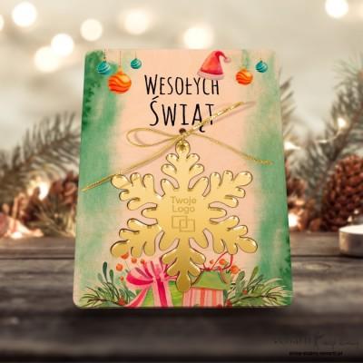 Prezenty Drewniane kartki świąteczne z lustrzaną gwiazdką na choinkę