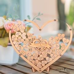 Przezroczysta księga gości rama w kształcie serca