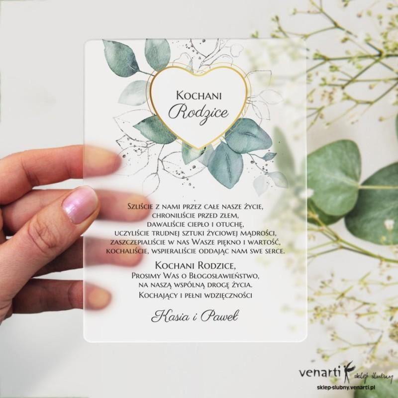 Serce z liśćmi eukaliptusa Satynowa, akrylowa prośba o błogosławieństwo