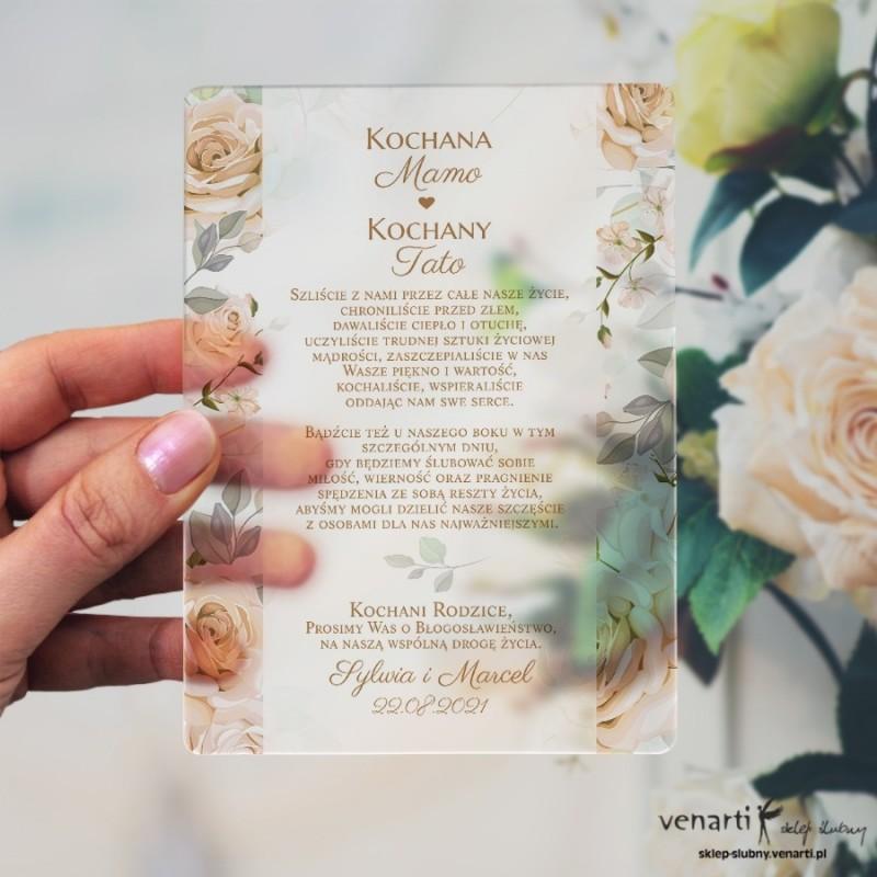 Herbaciane róże Satynowa, akrylowa prośba o błogosławieństwo