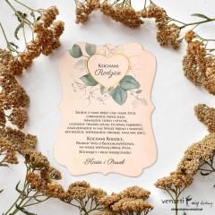 Serce z liśćmi eukaliptusa Drewniana prośba o błogosławieństwo