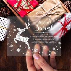 Biały Renifer Satynowe kartki świąteczne z pleksy