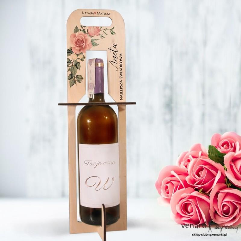 Pudrowe róże Nosidełko, torebka na wino dla świadkowej