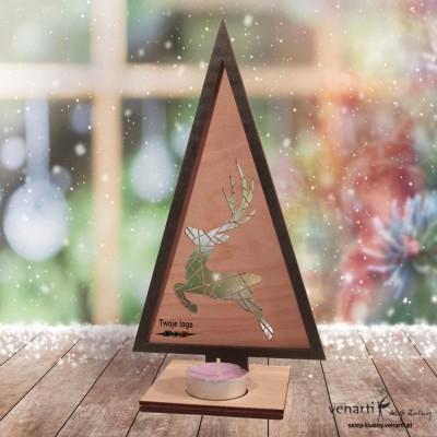 Renifer Świąteczny świecznik drewniany w kształcie choinki
