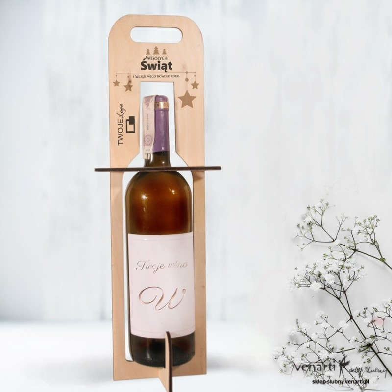 Świąteczne, drewniane nosidełko, torebka na wino