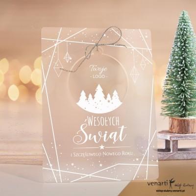 Las Satynowe kartki świąteczne z pleksy z bombką