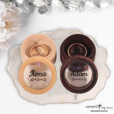 KOMPLET: Drewniane pudełeczka na obrączki ślubne dla niej i dla niego z żywicą