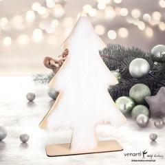 Świąteczna drewniana choinka z futerkiem