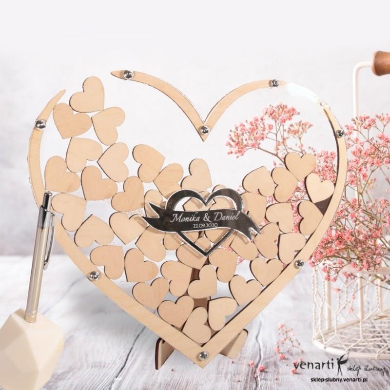 Przezroczysta księga gości rama w kształcie serca z lustrzanym sercem