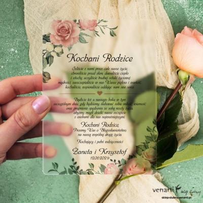 Pudrowe róże Satynowa, akrylowa prośba o błogosławieństwo