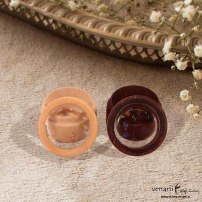 Drewniane pudełeczko na obrączki ślubne dla niej i dla niego z żywicą