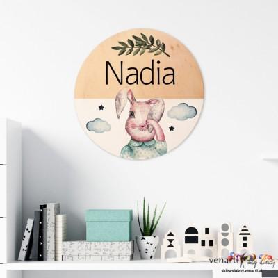 Króliczek Drewniany obraz dla dziewczynki na ścianę