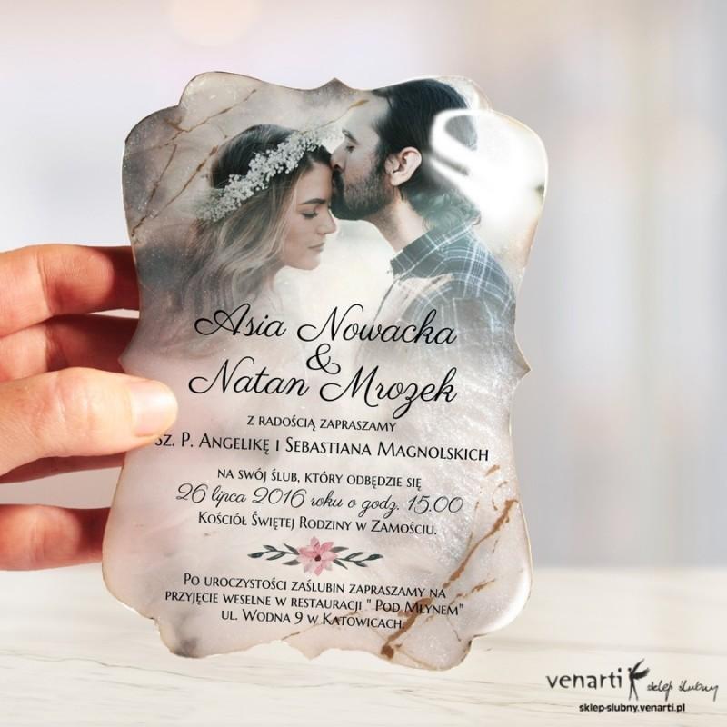 Zaproszenia ślubne z żywicy wzór ozdobny, marmurowy ze zdjęciem