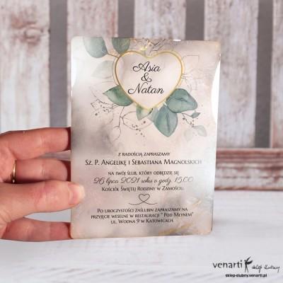 Zaproszenia ślubne z żywicy Serce z liśćmi eukaliptusa