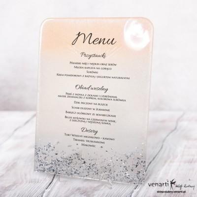 Menu weselne z żywicy wzór różowo biały