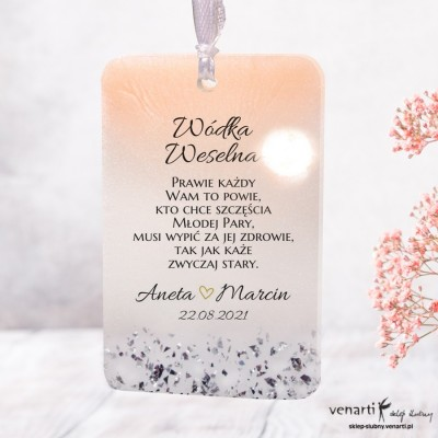 Ślubne zawieszki z żywicy wzór różowo biały