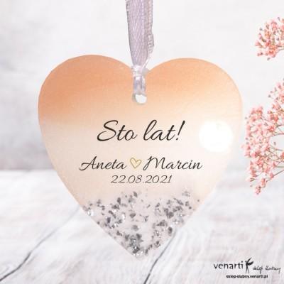 Serce Ślubne zawieszki z żywicy wzór różowo biały