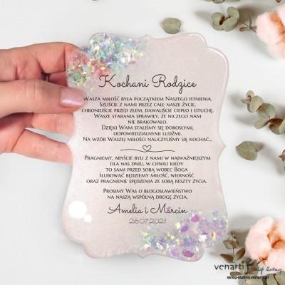Prośba o błogosławieństwo z żywicy wzór ozdobny, biała perła z drobinkami