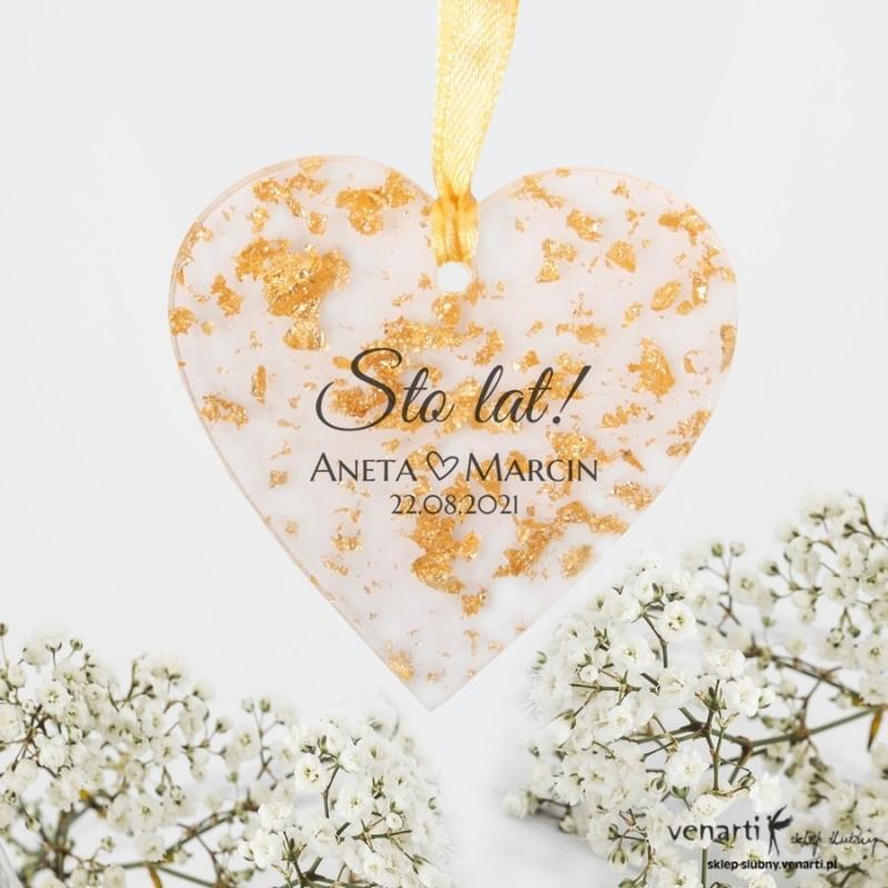 Ślubne zawieszki z żywicy wzór przezroczysty ze złotymi drobinkami Serce