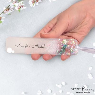 Winietka ślubna z żywicy wzór biała perła z drobinkami