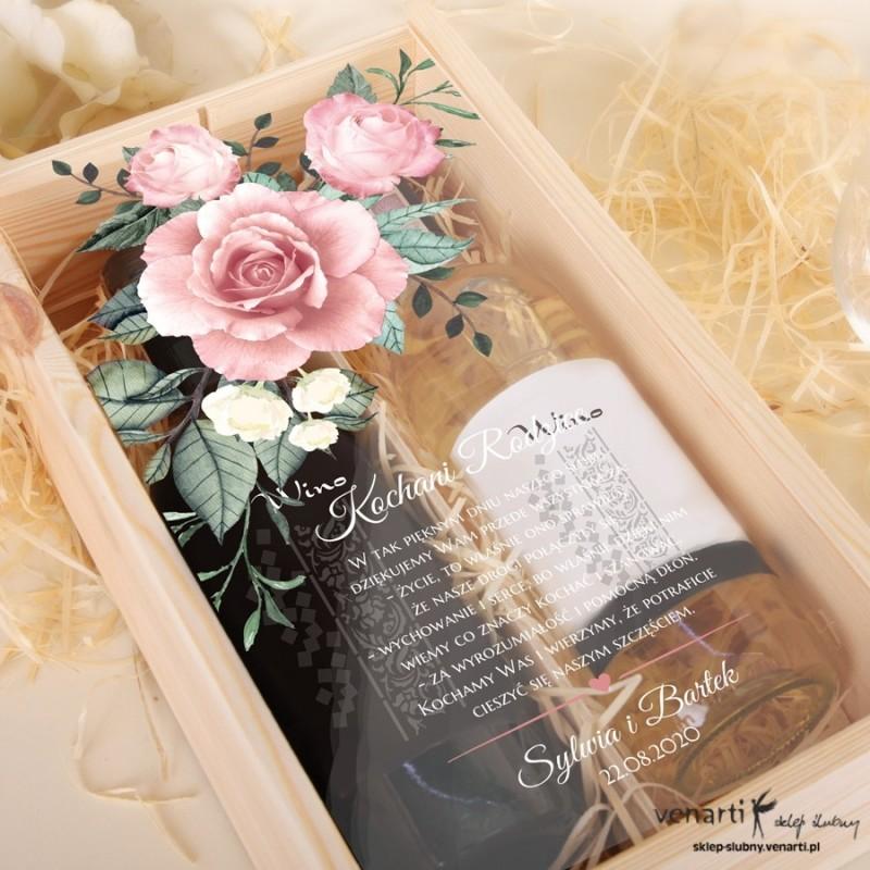 Skrzynka na 2 wina Pudrowe róże