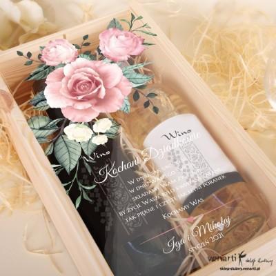 Skrzynka na 2 wina Pudrowe róże dla babci i dziadka