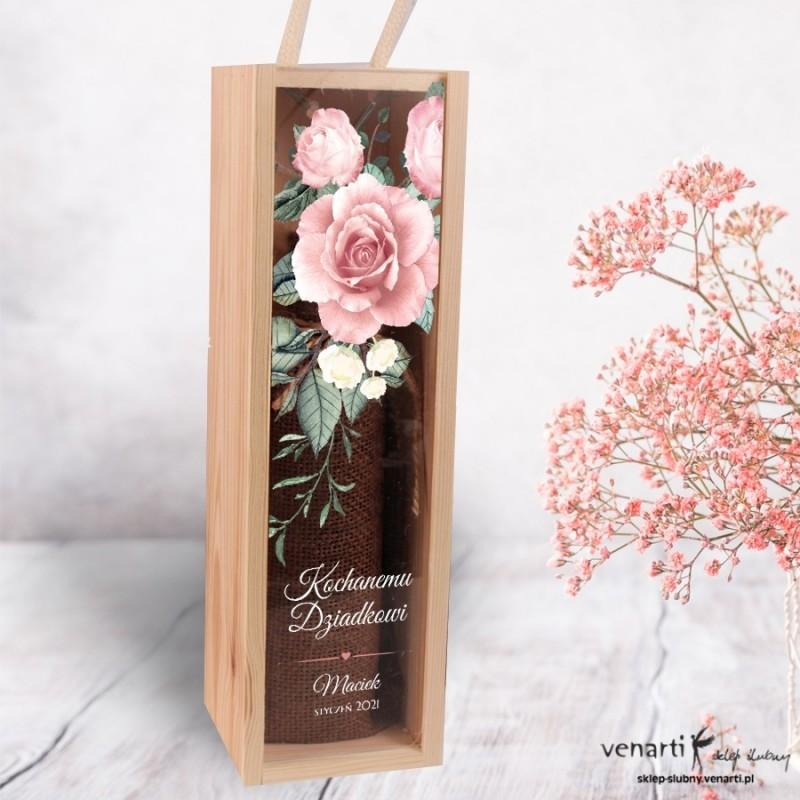 Skrzynka na wino Pudrowe róże Dla babci i dziadka przezroczysty front