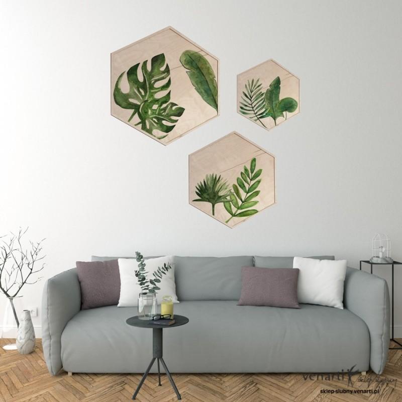 Liście Monstery Obraz na drewnie w kształcie ośmiokątu
