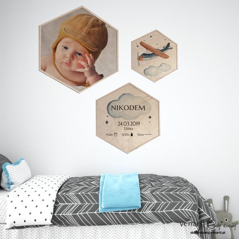 Obraz na drewnie w kształcie ośmiokątu dla dziecka różne grafiki